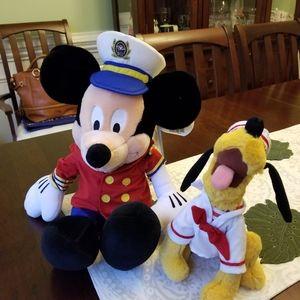 Disney Cruise Mickey and Pluto Plush Bundle
